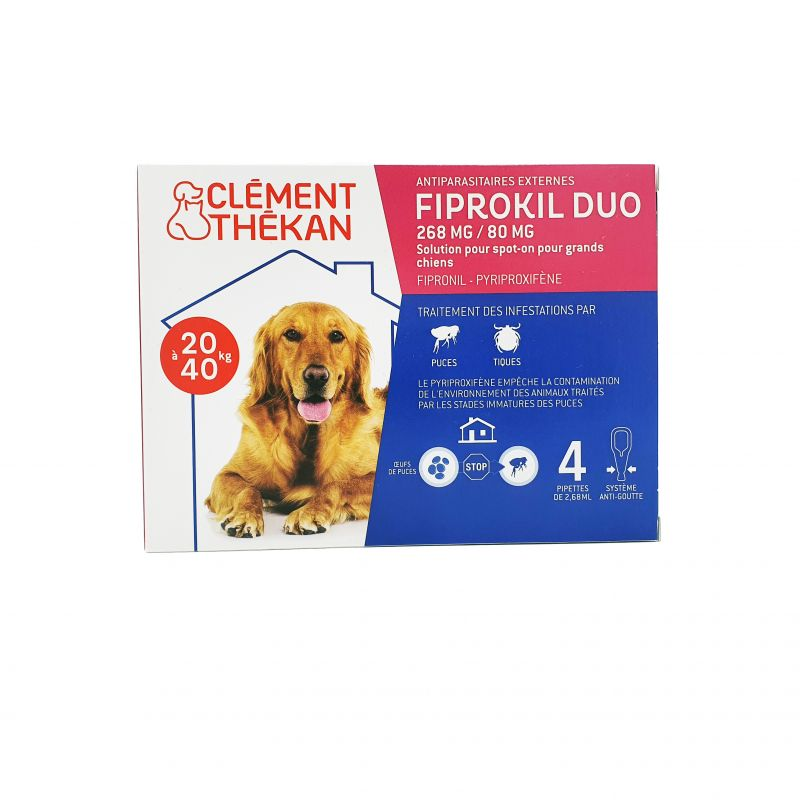 Fiprokil Duo Chien 20/40kg Pipettes 4x 2,68mL