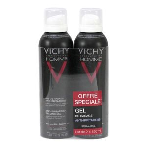 Vichy Homme - Gel de rasage anti-irritations 2x200mL