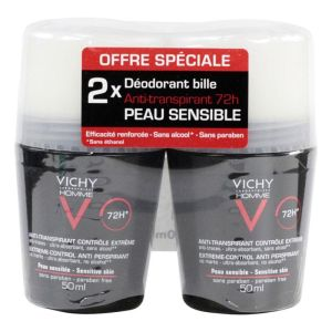 Vichy Homme - Déodorant bille 72h anti-transpirant 2x50mL