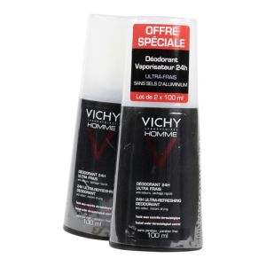 Vichy Homme - Déodorant spray 24h 2x100mL