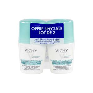 Vichy - Traitement anti-transpirant anti-traces 48h bille 2x50mL
