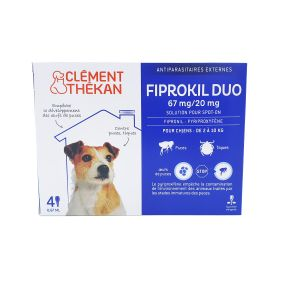 Fiprokil Duo Chien 2/10kg Pipettes 4x 0,67mL